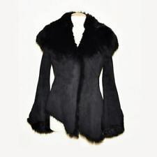 Christina Perrin Suede Black Shearling Toscana lambskin Fur Jacket Coat USA S 6
