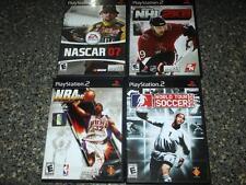 4 PS2 Games: NHL 2K8,NBA 06,NASCAR 07,SOCCER 06 Complete OrigArt/Case/Man VG