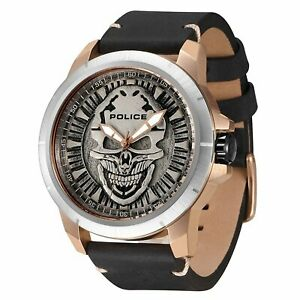 Police REAPER Man's Quartz Watch with Black Leather Strap 94385AERE/57