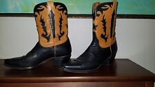 CHARLIE 1 HORSE WOMENS BOOTS WESTERN COWBOY SIZE 8B black with caramel inlay