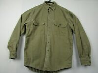 Vintage Mens LL Bean S Olive Green L/S Button Front Flannel Lined Shirt Jacket