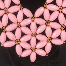 Vintage Statement Necklace Pretty Pink Flower Star Bib Choker or Adjustable CUTE