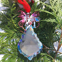 Kirks Folly Candy Cane Fairy Crystal Ornament with Large Aurora Borealis Crystal