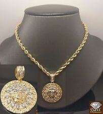 """10K Yellow Gold Medusa Head Charm Pendent With 10K Rope Chain 20"""" For Men's"""