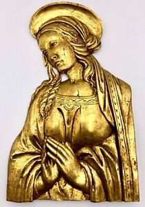 Vintage Gilt Wood Relief Plaque Of Virgin Mary Made in Italy