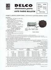 Delco 1956 1957 Chevy Corvette Wonderbar Radio Service and Parts Bulletin