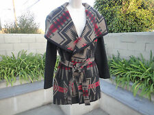 SALE! PENDLETON Harding Jacquard Wool Blend Wrap Coat Shawl Collar Belt Wmn's XS