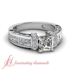 2.25 Carat Asscher Cut Diamond Round Accented Vintage Looking Engagement Rings