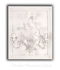 Beautiful Shabby Wall Lamp Clayre & Eef Vintage Leaves Roses Vine 67cm New
