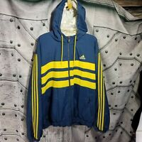 Retro Adidas Mens Size XL Full Zip Hooded Striped Blue Yellow Jacket Color Block