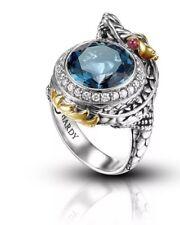 JOHN HARDY RARE! SILVER & 18K GOLD DIAMOND &BLUE TOPAZ XL RING SZ 7  DRAGON MINT