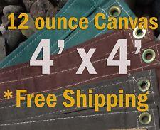 4 Ft. x 4 Ft. 12 Oz. Cotton Canvas Breathable Water Resistant Tarps