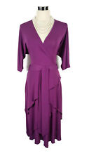 LEONA EDMISTON Frocks Dress - Orchid Purple Vintage Style Wrap Tie Stretch- XS/8