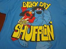 Sesame Street Elmo Cookie Monster Every Day I'm Shufflin Blue T Shirt Size XL N6