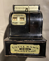 Vintage Uncle Sams Black And Gold 3 Coin Child's Toy Register Bank/Piggy Bank