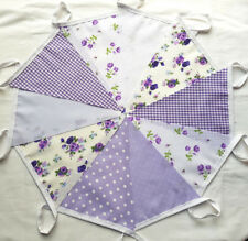 LILAC Floral Spot Gingham Fabric Bunting Bundle 20FT/6m Easter Spring Weddings