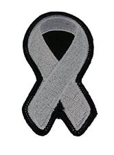 WHITE RIBBON FOR LUNG AND BONE CANCER, BLINDNESS AWARENESS PATCH - White - Veter