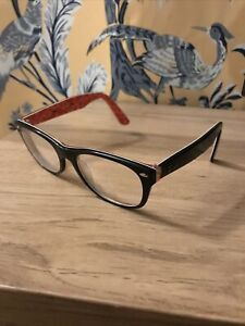 Ray-Ban RB 5184 2479 Black/Red 52-18-145 Pre-Owned Eyeglasses Rx Frames