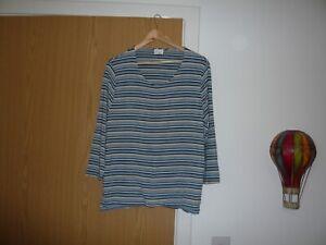 ladies eastex top  size 20 blue white black striped pattern