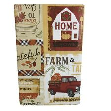 Red Truck Fall Vinyl Tablecloth Home Grown Farm Rustic Farmers Market Asst Sz.