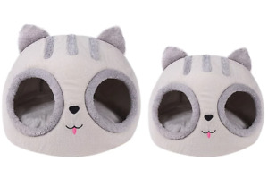 Grey super soft plush kitty shaped cat bed for small cats (35cm tall)