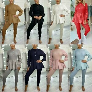 Womens Ribbed Frill Peplum Loungewear Ladies Ruched Sleeve Contrast Tracksuit
