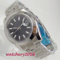 39mm Bliger Black dial Datum Saphirglas SS Automatisch Movement Uhr men's Watch