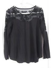 Women's Black Lace Inset 'Roper' Blouse - Size M