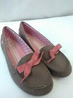 Keds Casual Cute Slip On Flats Brown with Pink Bow Womens 8.5 M Canvas Superb