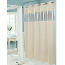 "Hookless Vision Shower Curtain Vinyl Beige 71"" x 74"" See Thru Window, 8 Gauge"