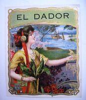 "Gorgeous Vintage Cigar Label ""El Dador"" w/ Lovely Woman & Gold Accents *"
