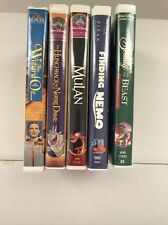 Lot 5 Disney & More Kids Movies VHS Tapes Wizard Of Oz, Nemo, Mulan, Beauty MORE