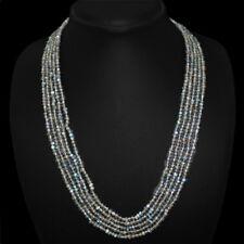 Edelsteinkette Schwarz Labradorit (Labradorite) 50cm Collier Halskette 2mm Perle
