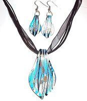 MN322 Blue Foil Bronze Gold Sparkle Lampwork Glass Pendant Necklace & Earrings