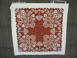"""Tablecloth Tree of Life Brown Cream Vintage Floral Cotton Blend Fabric 50""""sq"""