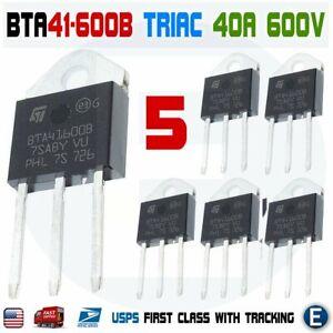5Pcs BTA41-600B Triac ST MICRO Thyristor BTA41600B STM 40A 600V TOP-3L Insulated