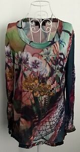 SEVEN SISTERS Multicoloured Floral Bling Pattern Long Sleeve Top-size 3  ( 10 )