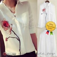 Fashion Women Ladies Loose Chiffon Button Long Sleeve Tops T Shirt Casual Blouse