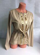 ADOLFO DOMINGUEZ Gold Shimmer Zip Cardigan Sweater Belted Women's Medium