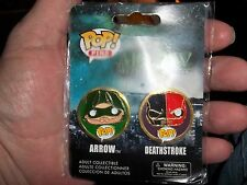 ARROW & DEATHSTROKE POP PINS DC COMICS FUNKO MINT IN PACKAGE