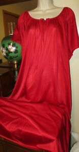 NWOT ONLY NECESSITIES RED silky cling free nylon loungewear nightgown 1X 22/24