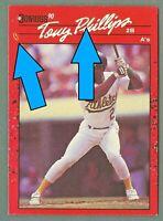 Tony Phillips ⚡LIGHTNINGBOLT ERROR⚡ 1990 Donruss Athletics Baseball Card #91