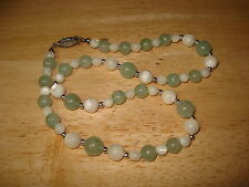 Vintage Pale Green White Opalescent Bead Choker Necklace Free US Shipping