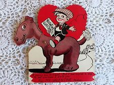 """VINTAGE VALENTINE MECHANICAL CARD MULTIPLE HEADS MULE&BOY""""A FUNNY WAY TO TRAVEL"""""""