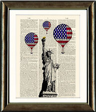 Old Antique Book page Art Print - Statue of Liberty and Air Balloons New York