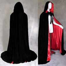 Lined Black Velvet Red Cloak Cape Cosplay Wedding Wicca Gothic GOTH LOTR LARP