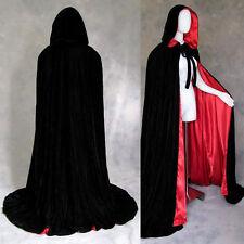50 in Lined Black Red Velvet Vampire Gothic Cloak Cape