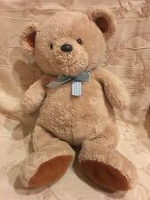 Carters Just One Year Prestige Toy Teddy Bear Tan Light Brown Blue Gingham Bow