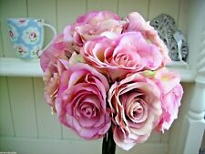 ARTIFICIAL VINTAGE STYLE SILK PINK ROSE BOUQUET POSY WEDDING HOME FLOWERS