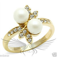 Beautiful Flower Shaped Synthetic Pearl Crystal Accented Cocktail Ring GL249